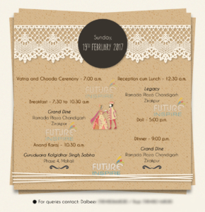 wedding itinenary e-card invitation